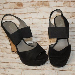 Levity Black Platform Wedges Sandals Size 6